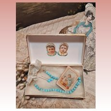 ~~~ Doll Factory Blue Bead Necklace with Earrings and Diary in Box ~~~