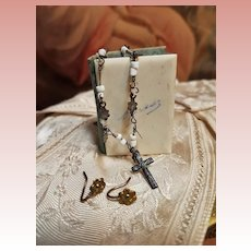 ~~~ Rare Poupee Rosary and Earrings ... France circa 1865 ~~~