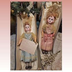 ~~~ Rare Original Bisque Twins from Paris Grand Magasin at 19th. Century for Christmas ~~~