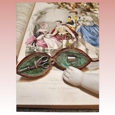 ~~~ Rare French Poupee Nut Sewing Ensemble / 1865 ~~~