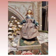 ~~~ Lovely Small Grodnertal Wooden Doll in Original Costume ~~~