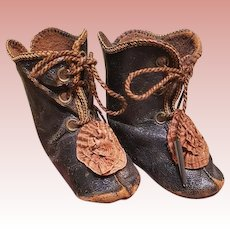 ~~~ Lovely French Bebe Leather Booties with Silk Rosettes ~~~