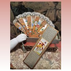 ~~~ Elegant Antique French Poupee Fan with Hand Painting Silk in Presentation ~~~