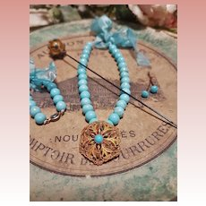 ~~~ Doll Factory Blue Bead Necklace with Earrings .... Bracelet and Hat - Pin from 19th. Century ~~~