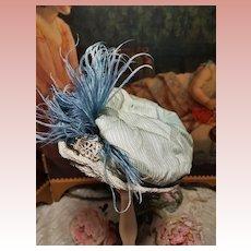 ~~~ Pretty Antique 19th. Century French Bebe Silk Bonnet ~~~