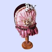 ~~~ Lovely Antique Home Made Poupee Silk Bonnet ~~~