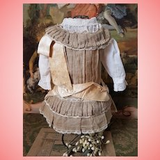 ~~~ Pretty all Original 19th. century Antique Bebe Dress with Blouse ~~~