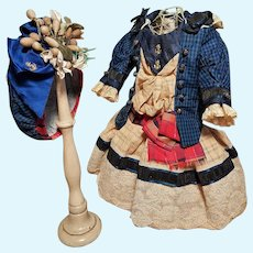 ~~~ Pretty Navy Style French Bebe Silk Costume with Bonnet ~~~
