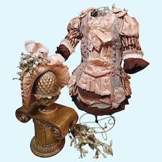 ~~~ Lovely French Silk & Silk Velvet Costume with Antique Bonnet ~~~