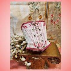 ~~~ Pretty Antique Cotton Poupee Corset .... France circa 1880 ~~~