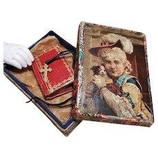 ~~~ Rare French Poupee Religious Book and Necklace Cross  / circa 1860 ~~~