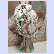 ~~~ Stunning French Aqua Silk Bebe Bonnet ~~~