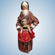 ~~~ Rare Early Grodnertal Wooden Doll with Child and fine Original Condition ~~~