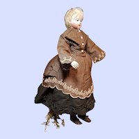 ~~~ Superb 1860 French Fine Linen Poupee Costume for Huret era Early Fashion Doll ~~~