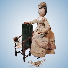 ~~~ Outstanding Early Wooden Doll with Fantastic Silk Costume and so Charming Expression ~~~
