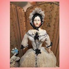 ~~~ Most Beautiful Biedermeier Paper-Mache Lady all Original ~~~