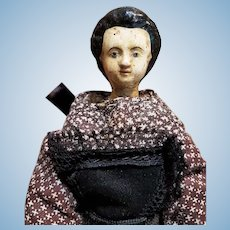 ~~~ Rare Early Grodnertal Wooden Doll with Original Costume ~~~