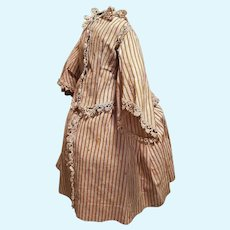 ~~~ Pretty early French Cotton Poupee Costume for Huret era Early Fashion Doll ~~~