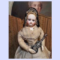~~~ Nice Antique French Fashion Doll Mandolin / 19th. Century ~~~