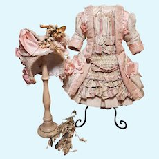 ~~~  Magnificent French Bebe Silk Wool Costume with Antique Bonnet ~~~