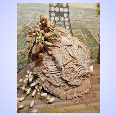 ~~~ Pretty Antique French Silk and Lace Bebe Bonnet ~~~