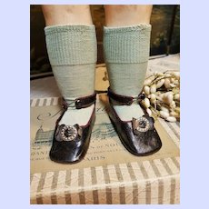 ~~~ Rare Antique Original Bebe Bru Shoes with Stocking / France 1879 ~~~