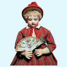 ~~~ Rare Miniature Poupee Fan with Oil Painted Ornaments ... 1858/60  ~~~