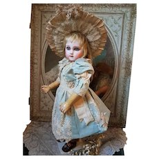 ~~~ Exceptional French Silk Satin Bebe Costume with Straw Bonnet ~~~