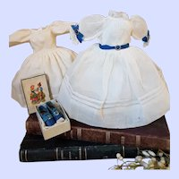 ~~~ Lovely French Enfantine Poupee Gown with Shoes from early 19th. Century ~~~~