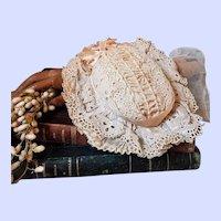 ~~~ Pretty Antique French Muslin Charlotte Bebe Bonnet  / circa 1880 ~~~
