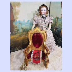 ~~~ Fine Early French Gold - Leaf Arm Chair for French Poupee or Bebe ~~~