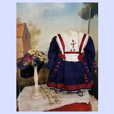 ~~~ Pretty French Bebe Cotton and Wool Sailor Costume size 12 Bebe ~~~