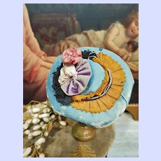 ~~~ Fancy 19th. Century French Antique Poupee Silk Bonnet ~~~