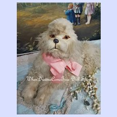 ~~~ Pretty French Papermarche Dog with Lamb Fur Cover / 19th. ~~~