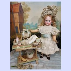 ~~~ French Bebe Dressing Table with Rare Porcelain - Set ~~~