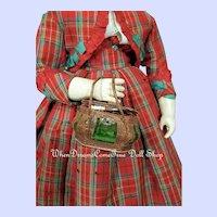 ~~~ Rare 1860th. Bomb-Shaped Poupee Leather Necessaire Bag for Huret ~~~
