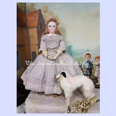 ~~~  Lovely 19th. Century French Poupee Russian Borzoi Dog ~~~