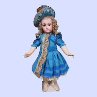 ~~~ Stunning French Blue Silk Costume with Antique Straw Bonnet ~~~