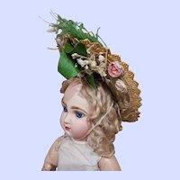 ~~~ Most beautiful Fancy Antique Doll Straw Bonnet ~~~