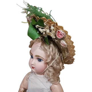 ~~~ Most beautiful Fancy Antique Doll Straw Bonnet ~~~