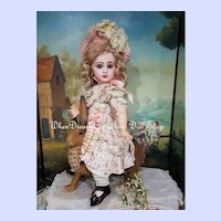 ~~~ French Bisque BeBe Jumeau Size 9 in Pretty Costume ~~~