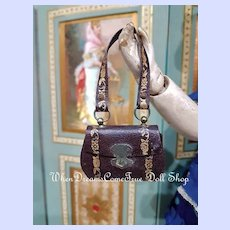 ~~~ Pretty French Poupee Leather Purse with Rare Gold Print / France 1860/65 ~~~