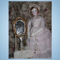 ~~~ Rare Hand Mirror Metal Covered/ France around 1880th.~~~