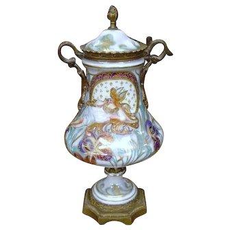 French  Porcelain Urn w/ Bronze Mounts