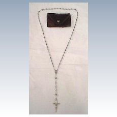 Antique Sterling Silver Rosary w/ Hand Tooled Beads - All Silver
