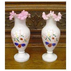 Antique Enameled Bristol Glass Pair