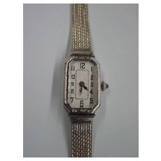 Art Deco Bulova 17 Jewels Ladies Wrist Watch - 19kt White Gold