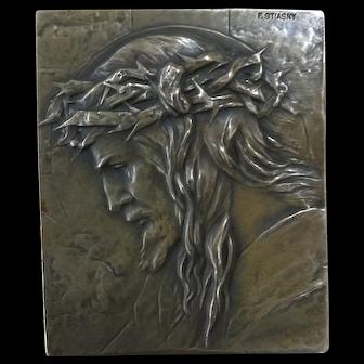 Rare Franz Stiasny Austrian Bronze Portrait Plaque, Circa 1920