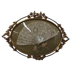 Victorian Hand Made Battenburg Lace Wedding Fan in Ornate Brass Frame