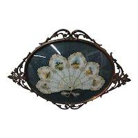 Antique 1902 Sylvan Calendar Fan - Die Cut in Ornate Metal Confex Frame